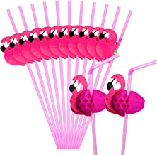 Hysagtek 50 Pcs Flamingo Drinking Straws Bendable Cocktail Straws Flamingo Straw Decorations for Party Table Decor Birthda...