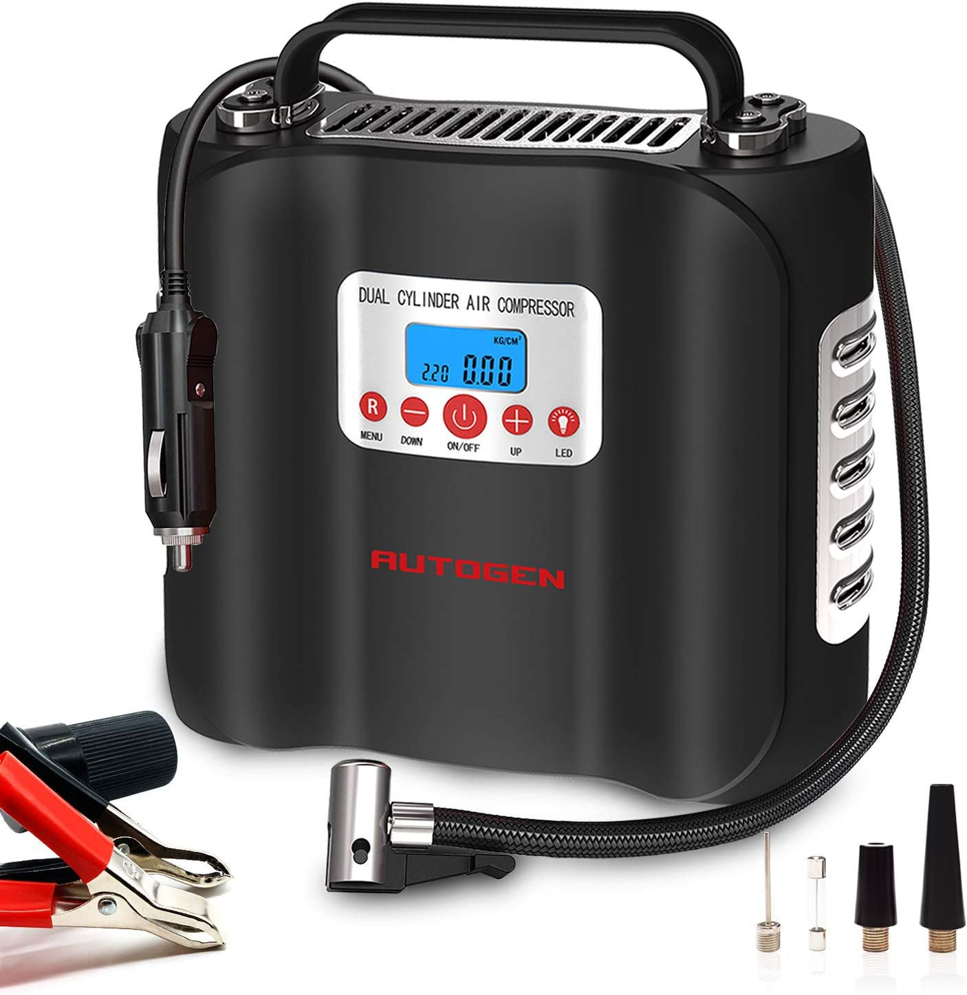 AUTOGEN Double Cylinder Air Compressor Heavy 12V 2021 Gorgeous Tire D Inflator