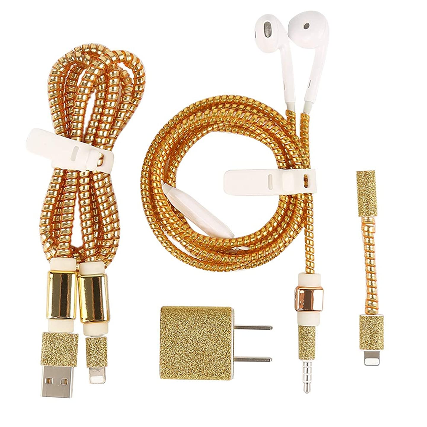 MINQISU USB Earphone Cable Mobile Phone Data Cable Protection Kit Line Saver Winder (Gold)