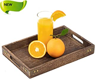 Sufandly Service Tray with Handles, Serve Coffee, Tea, Cocktails, Appetizers, Rectangle Wood Breakfast Bed Tray 11.8X 7.9 Inch