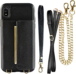 ZVEdeng Wallet Case for iPhone XR(6.1inch), iPhone XR Crossbody Case with Card Holder Crossbody Chain and Wrist Strap, iPhone XR Stand Case, Leather Crossbody Bag-Black