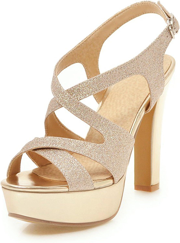 DoraTasia Women's Summer Glitter Comfortable Breathable Peep Toe High Heel Sandals-Ankle Strap Buckle Sandals