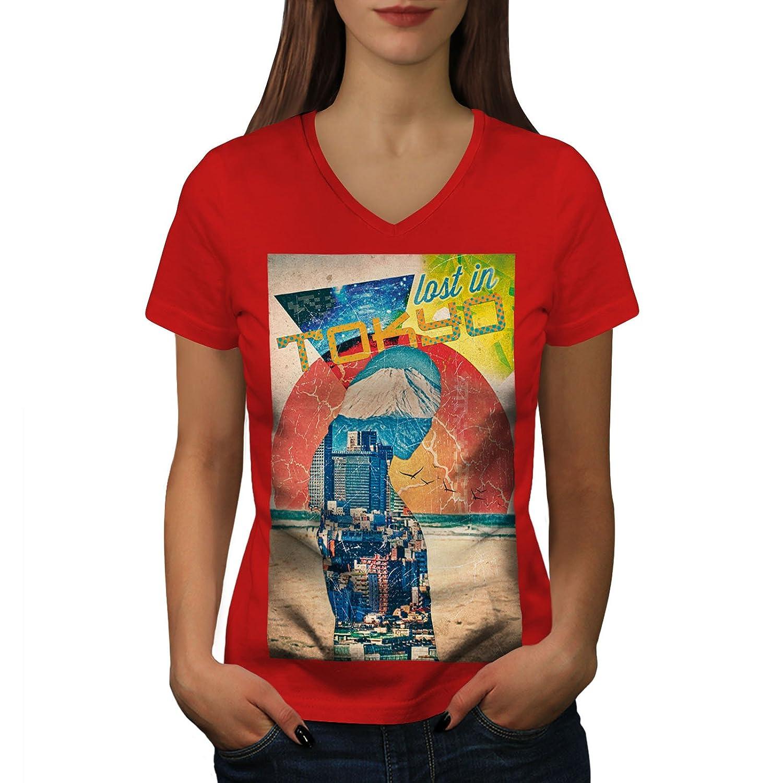 Wellcoda 失われました 都市 日本 東京 婦人向け S-2XL リンガーTシャツ