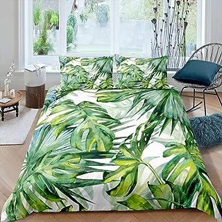 Meimall Parure De Lit Vert Feuilles Plantes Art 240X280 Cm Anti-Rides Et Anti-Allergique - Housse De Couette avec - Housse...