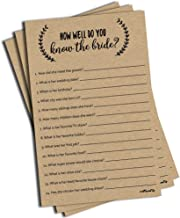 How Well Do You Know The Bride - Kraft (50-Sheets) Rustic Bridal Wedding Shower or Bachelorette Party Game, Who Knows The Bride Best Couples Guessing Question Pack Engagement (Large Sheet Size)