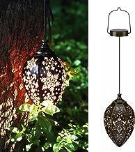 KOOPER Solar Lights Outdoor Decorative, Solar Lanterns Outdoor Hanging with Hollowed Pattern Metal Lamp Wireless Waterproo...