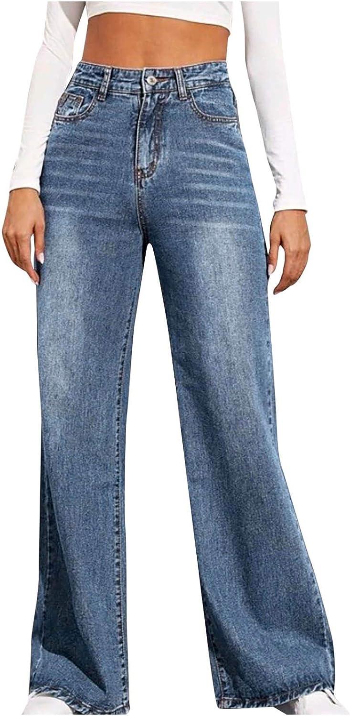 Kinsaiy Jeans for Women High Waisted Stretch,Retro Straight Flared Jeans Long Leg Baggy Trouser Tube Denim Bell Jean