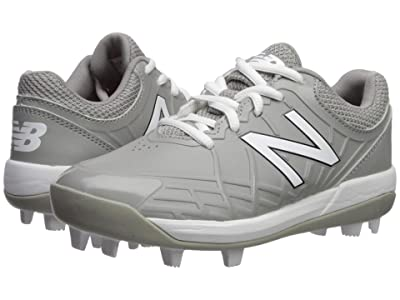 New Balance Kids 4040v5 Baseball (Little Kid/Big Kid) (Grey/White) Kids Shoes