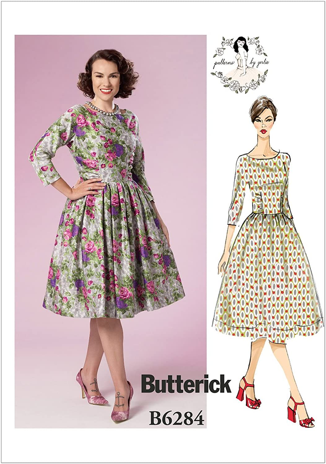 Butterick Patterns B6284 A5 Misses' Gathered Dresses by Patterns by Gertie, A5 (68101214)