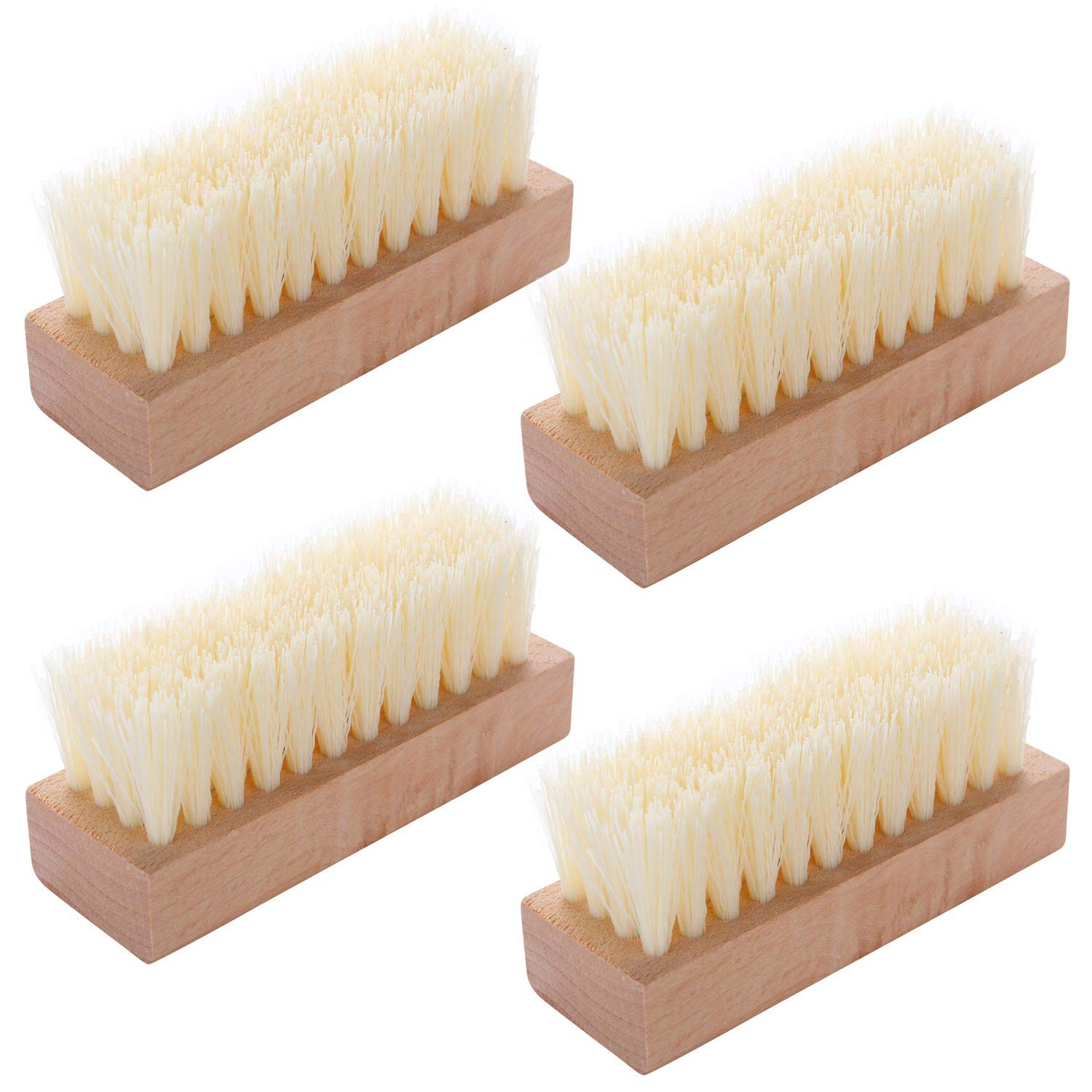 4 Pieces Non-Slip Wooden Hand Nail Scrub Brush for Toes and Nail