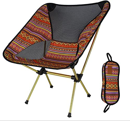 ZH Chaise Pliante de Camp, Chaise Pliante extérieure Couleurée Chaise de Lune Chaise de pêche Directeur Chaise Chaise en Aluminium Ultra léger portable (Couleur   Indian Orange)