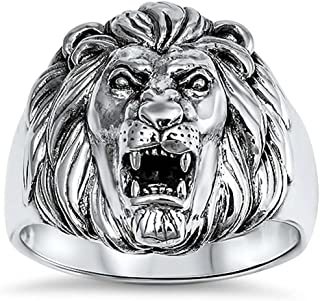 Oxford Diamond Co New Solid Lion .925 Sterling Silver Ring Sizes 7-14
