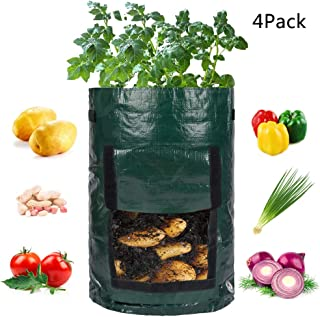 Tingyuan Grow Bags, 10 Gallon Potato Grow Bag 4pack Vegetables Planter Bags Fabric Grow Pots with Flap and Handles for Potato, Carrot, Tomato, Onion