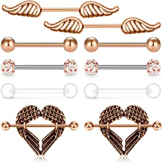 JFORYOU Nipple Rings Surgical Steel 14G Nipplerings Wing Heart Nipple Shield Ring Tongue Rings Straight Barbell Nipple Piercing for Women Men