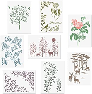 CODOHI 8 Packs Romantic Stencils, A4 Flower Tree Rose Butterfly Leaf Elk in Forest Pattern Reusable Mylar Template - DIY Drawing Craft Stencils for Painting 8.2