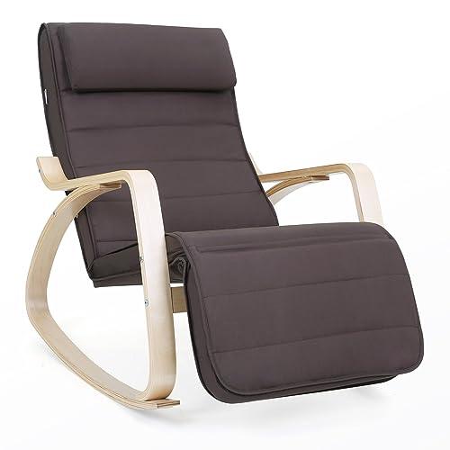 SONGMICS Rocking Chair Fauteuil Bascule avec Repose-Pieds réglable à 5 Niveaux Design Charge Maximum: 150 kg Brun LYY10Z