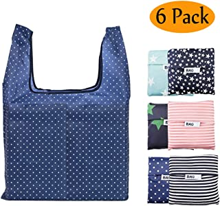 Reusable Grocery Bags Set of 6 Foldable Shopping Tote Bag,Washable, Durable and Lightweight (Reusable Grocery Bags 6 PACK)