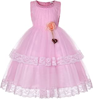 AGQT Flower Girl Dress Lace Junior Bridesmaid Tulle Embroidered Wedding Party Dress