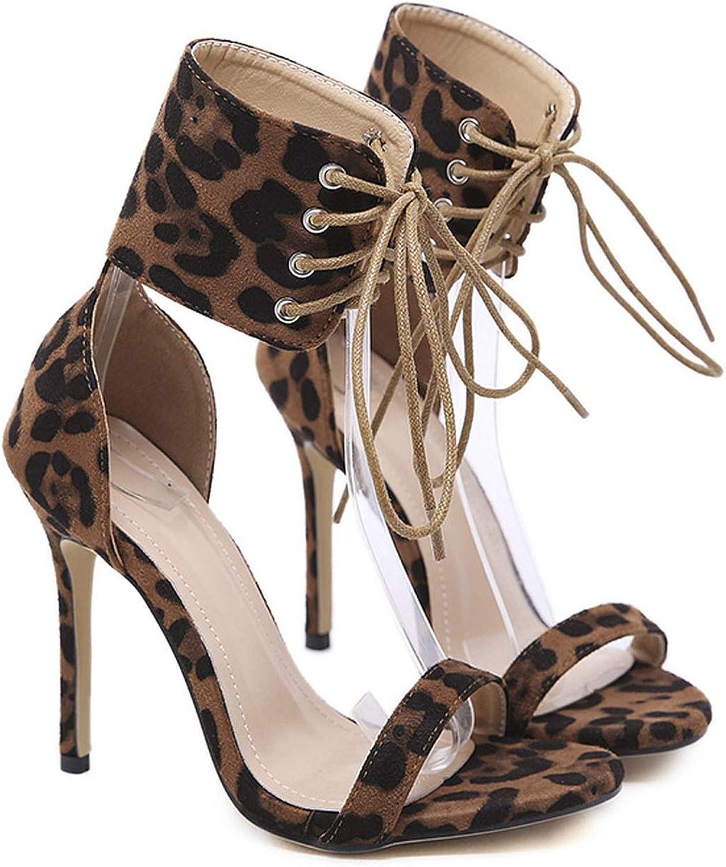 Women Ankle Strap Sandals High Heels Pumps Leopard Ankle Wrap Credch Bound Lace Up Platform Party shoes Women Sandals Open Toe