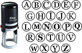 Custom A-Z Alphabet Stamp in Black Ink Monogram Round Rubber Stamp Self Inking Initial Stamp Shiny Mini Stamper 20 mm