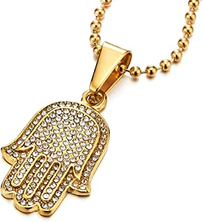 Two-Layers Mens Womens Hamsa Hand of Fatima Pendant Necklace Steel with Cubic Zirconia