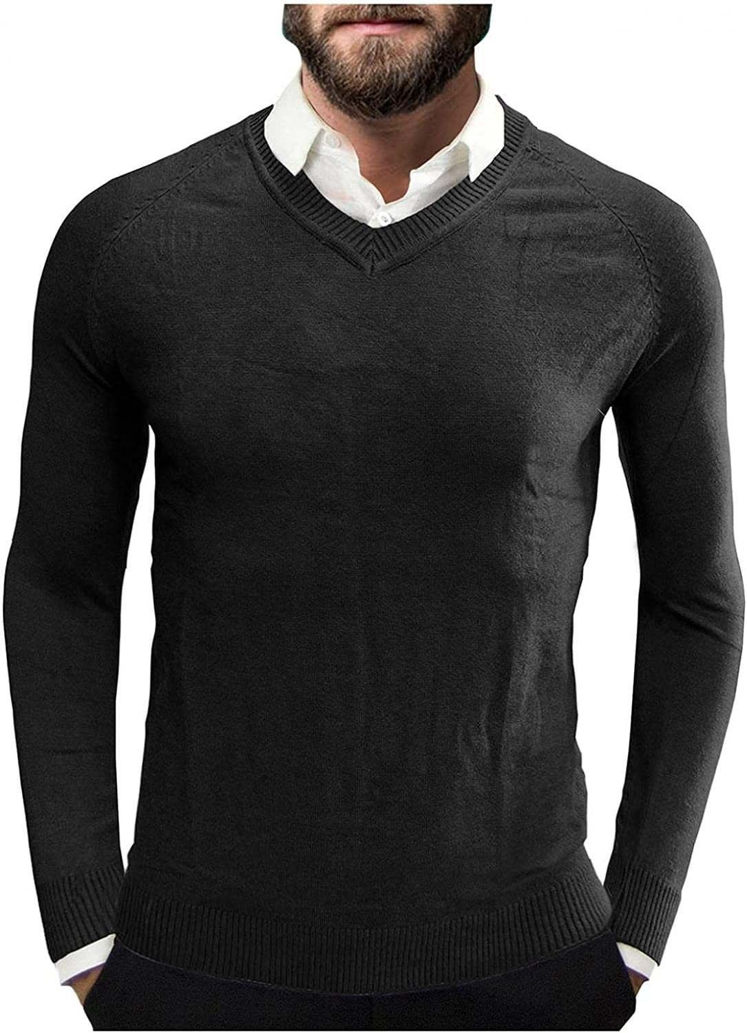 WUAI-Men Casual Slim Fit Pullover Sweaters Knitted Tops V-Neck Basic Designed Soft Fitted Thermal Fall Winter Warm