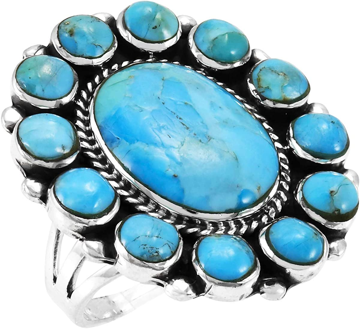 Turquoise Ring low-pricing Sterling Kansas City Mall Silver 925 Genuine to 1 Size 6 Gemstones