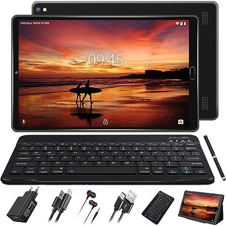 GOODTEL Tablet 10 Pulgadas Android 10 Pro con Procesador Octa-Core Núcleos 1.6GHz 4GB RAM + 64GB ROM Batería 8000mAh | Cámara Dual 5MP + 8 MP | WiFi | Bluetooth | MicroSD, con Teclado Bluetooth, Negro