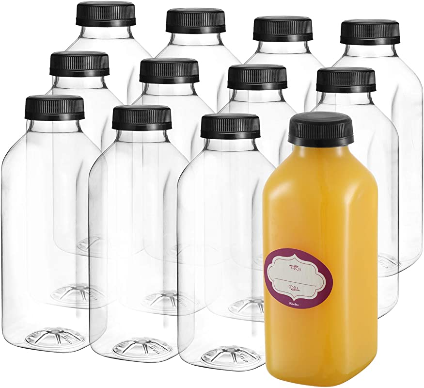 16 Oz Empty Plastic Juice Bottles With Lids 12 Pack Large Square Drink Containers Great For Storing Homemade Juices Water Smoothies Tea And Other Beverages Food Grade BPA Free