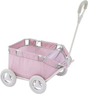 TRIOKID My First Kids Toy Wagon for Doll Trioswagon Blueberry Blue Deluxe Outdoor Doll Stroller Drawable Fabric with Adjustable Handle