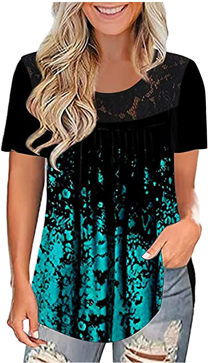 Plus Size Factory outlet Summer Tops for Sale Special Price Women Pleated Casual Pri Lace Splicing