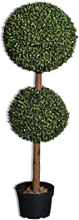 TCDesignerProducts Artificial Boxwood Double Topiary Tree 36 Inches Tall