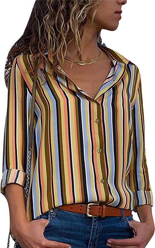 Camisa de Gasa Mujer Blusas a Rayas Escote V Blusa Manga ...