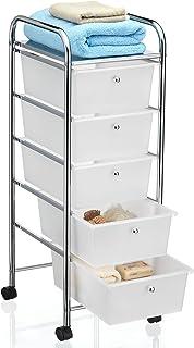 IDIMEX Caisson sur roulettes GINA Chariot avec 5 tiroirs en Plastique Blanc Transparent et 1 étagère, Meuble de Rangement ...