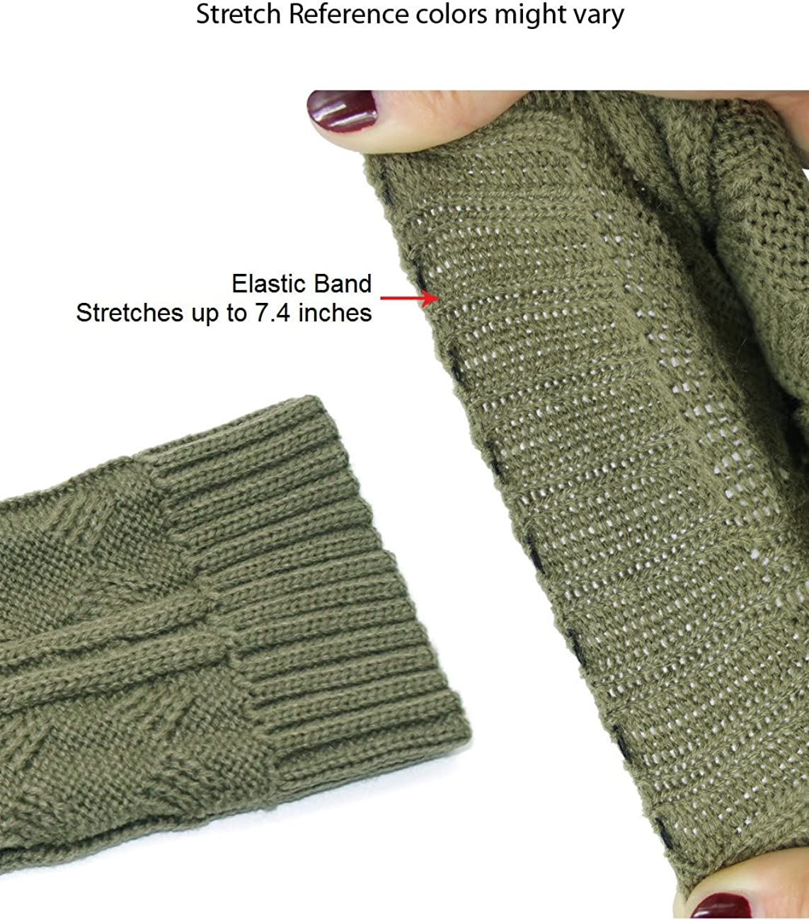 Dahlia Women's Leg Warmers & Boot Cuffs - Synthetic Wool, Cable Knit