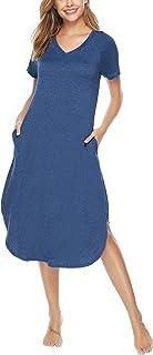 Aibrou Chemise de Nuit Longue Femme Style Ample Robe de Nuit Coton Manches Courtes avec Poche Grande Taille