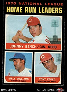 1971 O-Pee-Chee # 66 NL HR Leaders Johnny Bench/Tony Perez/Billy Williams Reds/Cubs (Baseball Card) Dean's Cards 5 - EX Reds/Cubs