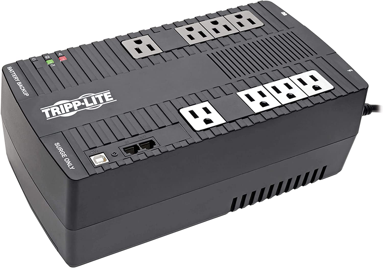 Tripp Lite 550VA UPS Battery Backup, 300W AVR Line Interactive, USB, Ultra-Compact (AVR550U), Black