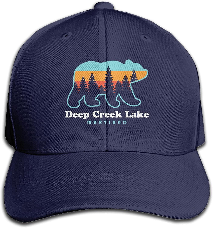 chenhe Deep Creek Lake Maryland Bear Adjustable Baseball Cap Trucker Hat Dadcap Black