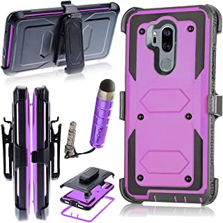 LG G7 / G7 ThinQ Case, KooJoee Heavy Duty Shockproof Holster [Kickstand][Belt Swivel Clip] Full-Body Armor Rugged Protection Carrying Case W/Built-in Screen Protector(Free Touch Stylus) (Lilac)