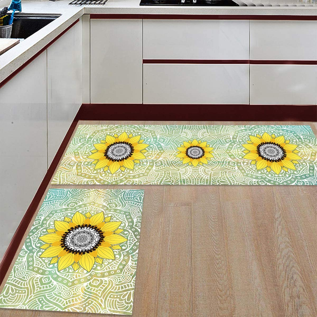 Be super welcome Advancey 2 Challenge the lowest price of Japan ☆ Pieces Anti-Slip Kitchen Mats and G Sunflower Mandala