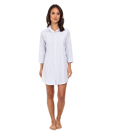 LAUREN Ralph Lauren Essentials Striped His Shirt (Carissa Bengal Stripe French Blue/White) Women