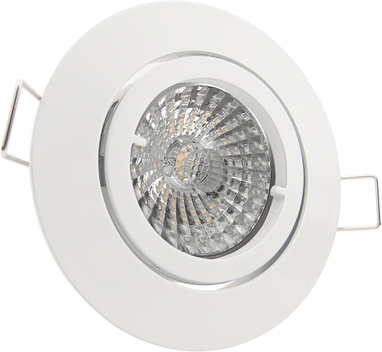 3 x LED-Einbaustrahler PAGO 230V - DIMMBAR 5,5 Watt (= 3 x 60 Watt Leuchtkraft) - Farbe  Wei - inkl. austauschbarem LED-Leuchtmittel in Warm-Wei