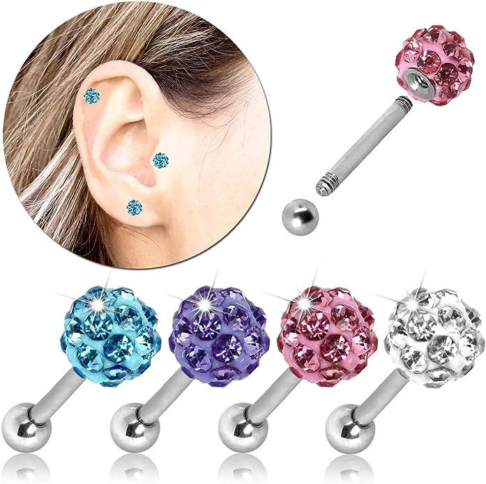 Helix Tragus Piercing Shamballa Cartilage Earring Ball Plug Glitter Women Steel