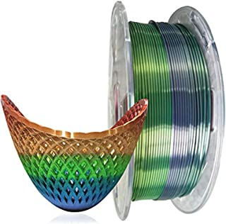 Kehuashina 3D Printer Silk Pla Filament Multi Color, Rainbow Like, 1kg Gradually Changing Multicolor Spool - 1.75mm Diamet...