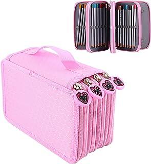 Yosoo Gran Capacidad de múltiples capas del sostenedor caja de lápiz de lápiz de la escuela, lápices Inserción portátiles caja de 72 lápices de colorear del maquillaje cosmético del bolso Estudiante almacenaje de los efectos Zipper la cartera (rosa)