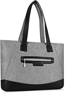 MOSISO Laptop Tote Bag Water Resistant PU & Polyester Women Work Travel Shopping Carrying Shoulder Handbag with Compartment Multi Gray 17.3 Inch