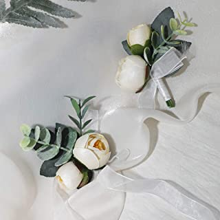 Floroom Bride Wrist Corsage Band and Men Boutonniere Set for Wedding Champagne