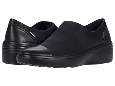 ECCO Soft 7 Wedge GTX Slip-On (Black/Black Cow Leather/Textile) Women
