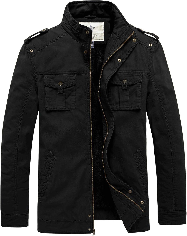 WenVen Men's Winter Casual Cotton Coat Thicken Fleece Lined Military Jacket
